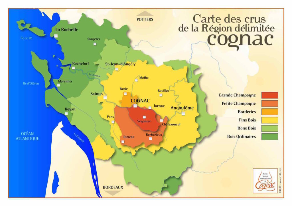 A map of the six Cognac crus.